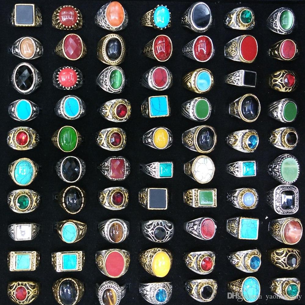Gemischte Los Gold überzogene Silber überzogene natürliche Steinringe archaischen chinesischen Stil Ringe Wholesale