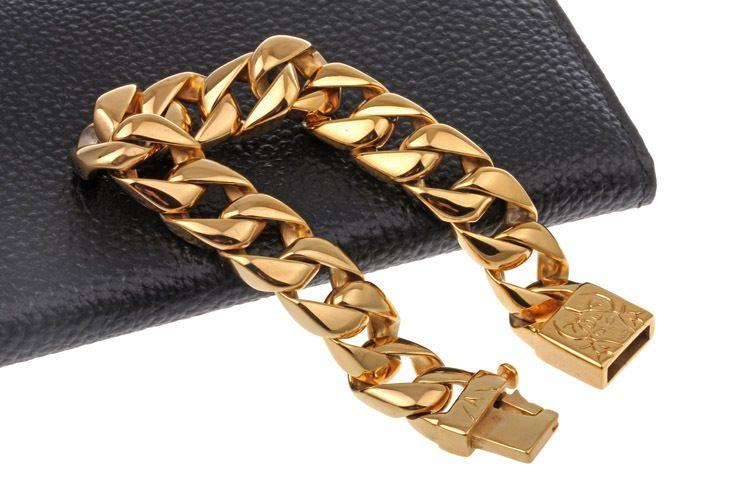 Moda Titanyum Takı Erkekler Bilezikler Punk Yüksek Cilalı Bileklikler Bileklik Pulseras Brace dantel Altın Gümüş 22 cm * 1.5 cm