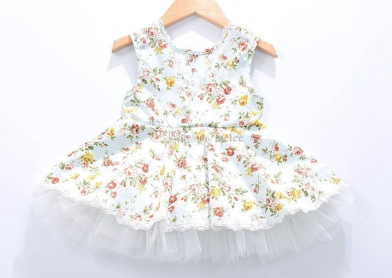 INS Sommer Mädchen Baumwolle Blumenkleider Little Gir Rosa Blau Weste Prinzessin Kleid Baby Blumen Tutu Party Kleider Kleinkinder Spitzenkleid