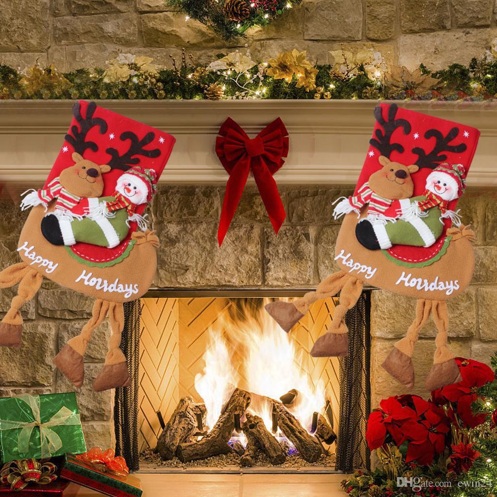 Санта-Клаус Снежный человек Рождественский чулок Украшение елки Творческий подвесной чулок Подарочная сумка 19 дюймов