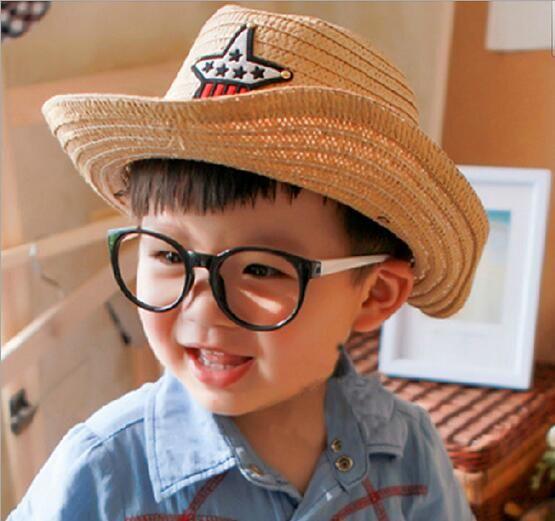290ab061514 2017 New Baby Summer Straw Hats Kids Five Star Sun Caps Baby Cowboy Hat  Children Top Hat Jazz Cap Baby Topee Hat Children Hat Sunhat Online with ...
