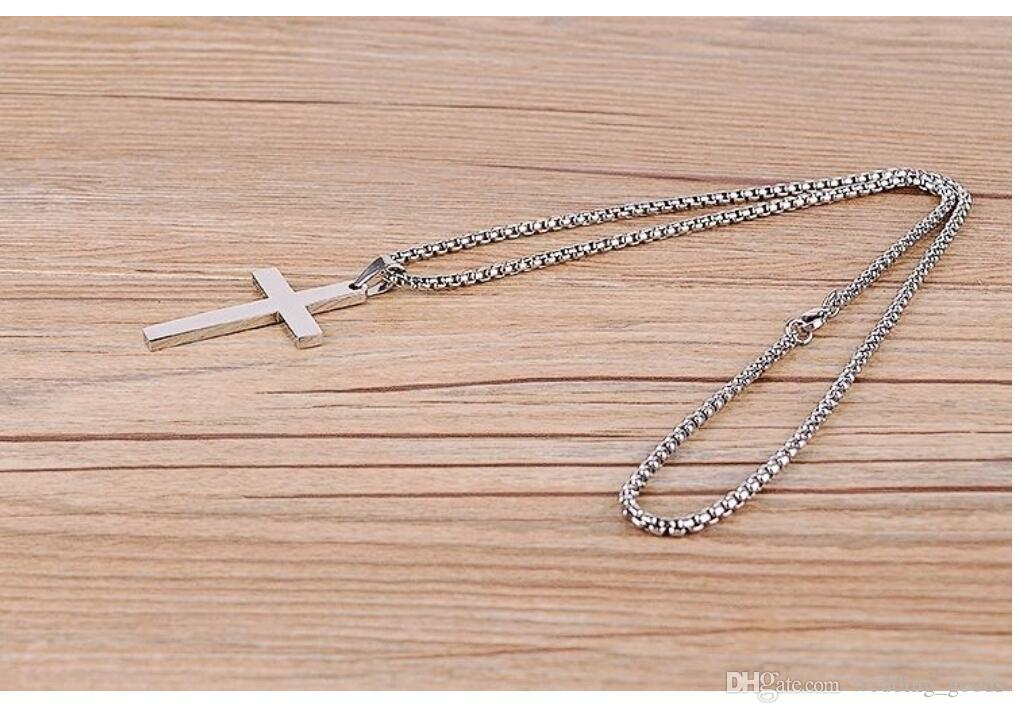Hot sale Christian Titanium steel single large smooth cross necklace pendant with chain WFN584 with chain a