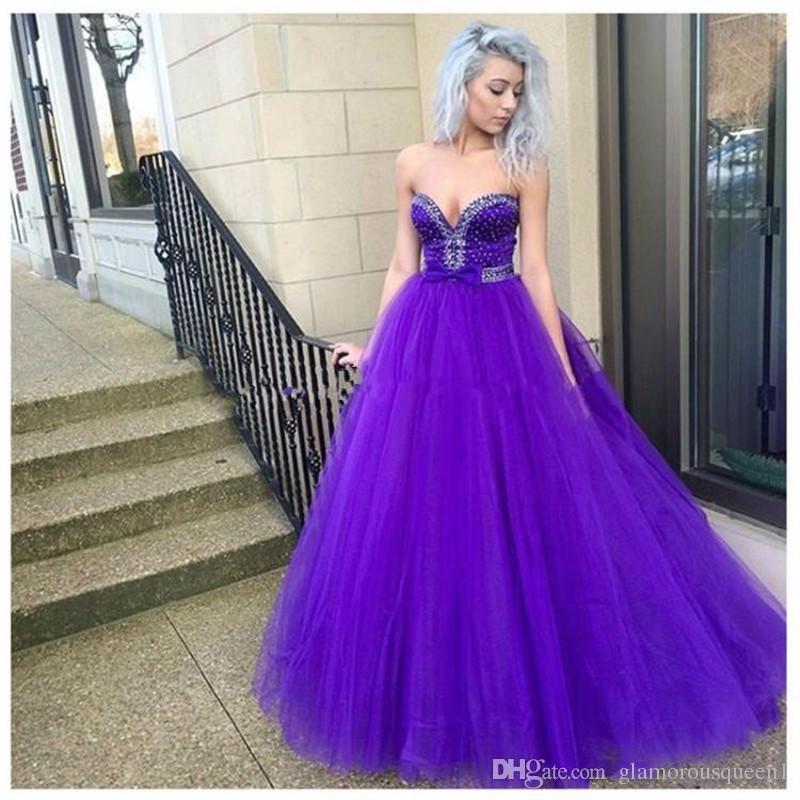 Compre Envío Gratis Vestido De Bola Sweetheart Purple Tulle Beads ...