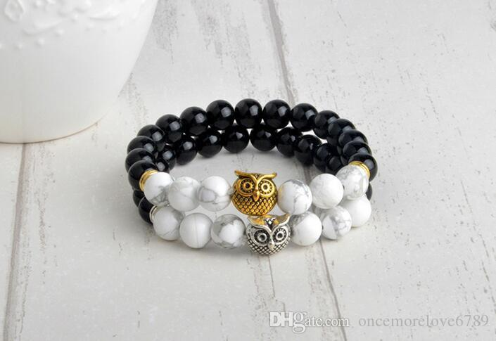 Mischauftrag Owl Buddha Perlen Armbänder Armreifen Charme Naturstein Armband Yoga Schmuck Männer Frauen Freies Verschiffen