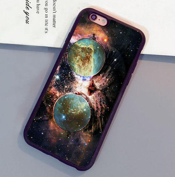 Custom Cat Glasses Space Nebula Kitty Phone Cases For Iphone 6 6s Plus 7 5 5s 5c Se 4s Back Cover Heavy Duty Cell Spigen