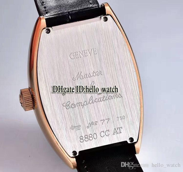 High Quality CRAZY HOURS 8880 CH Black Dial Automatic Mens Watch Rose Gold Leather Strap High Quality New Sport Cheap Watches
