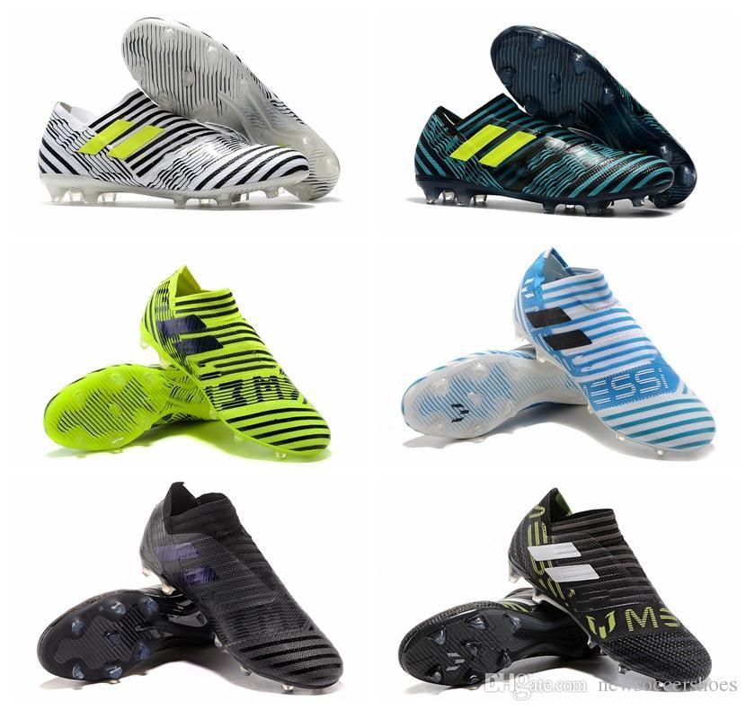 Compre 2018 Niños De Cuero Para Hombre Nemeziz 17 Zapatos De Fútbol Bajos  Nemeziz 360 Agility FG Botas De Fútbol Sin Cordones Original Blanco Tacos De  ... d71dffc68cb8a