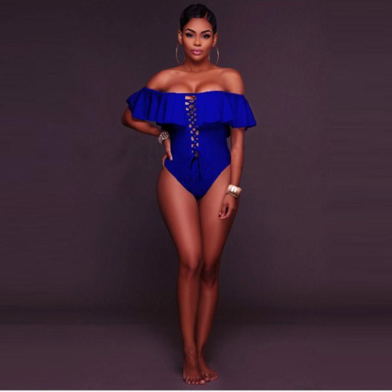 5 цветов S-XL новые купальники сексуальные взъерошенные без бретелек с плеча сплошной цельный купальник бандаж боди купальный костюм Женщины