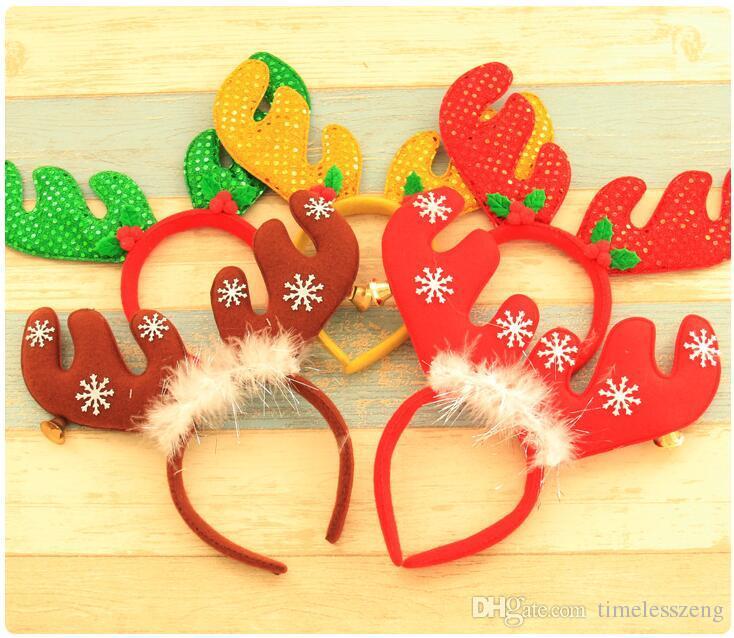 Новый Красный Рождественский Оголовье С Белл Снежинка Лось Головные Уборы Для Женщин Девушки Рождественская Вечеринка Платье Украшения Волос