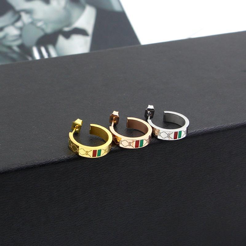 2017 stile classico punk uomini e donne smalto verde e rosso acciaio inox orecchini a cerchio orecchio calibri nuovi stili mix gioielli ps5646