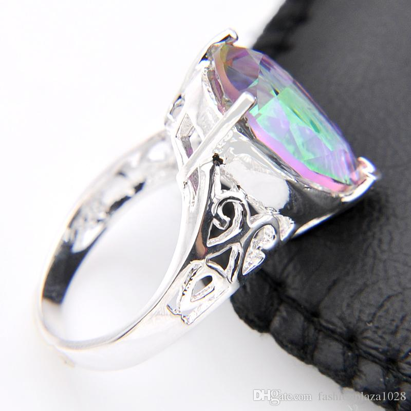 2017 Hot Sale Promotion Women's Simple and generous Mystic Topaz 925 Sterling Silver Finger Rings Jewelry R0567