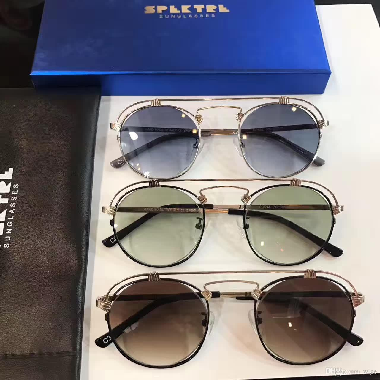 Women Designer Spektre Coral Sunglasses Gold/Black Brown Gradient 50mm Sunglass Luxury Brand Retro Round Sunglasses New with Case