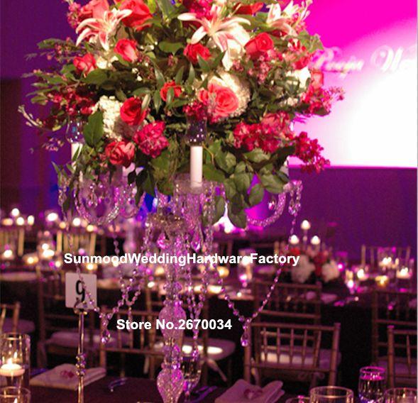 أحدث الفاخرة كومة أكريليك زهرة المزهريات للزينة الزفاف