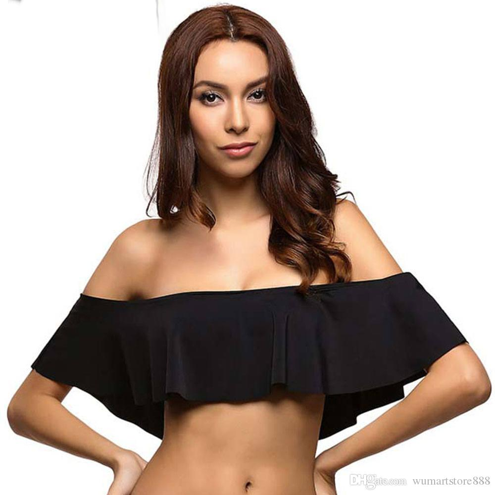 7910f5d43c9bb 2019 2017 Sexy Black Rose Pink Bandeau Frill Ruffle Off Shoulder Bikini Top  Padded Swim Crop Top For Women Beach Summer Style From Wumartstore888, ...