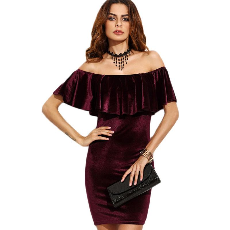 f814591131 Burgundy Ruffle Off The Shoulder Velvet Bodycon Dress Bodycon Long Sleeve  Dress Summer Bodycon Dresses Tight Bodycon Dress Online with $28.75/Piece  on ...