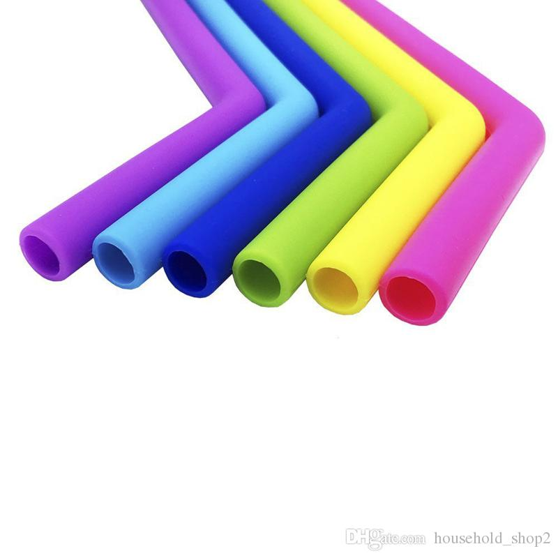 colorful silicone straws for cups food grade 25cm silicone straight bent straws for bar home drinking straws