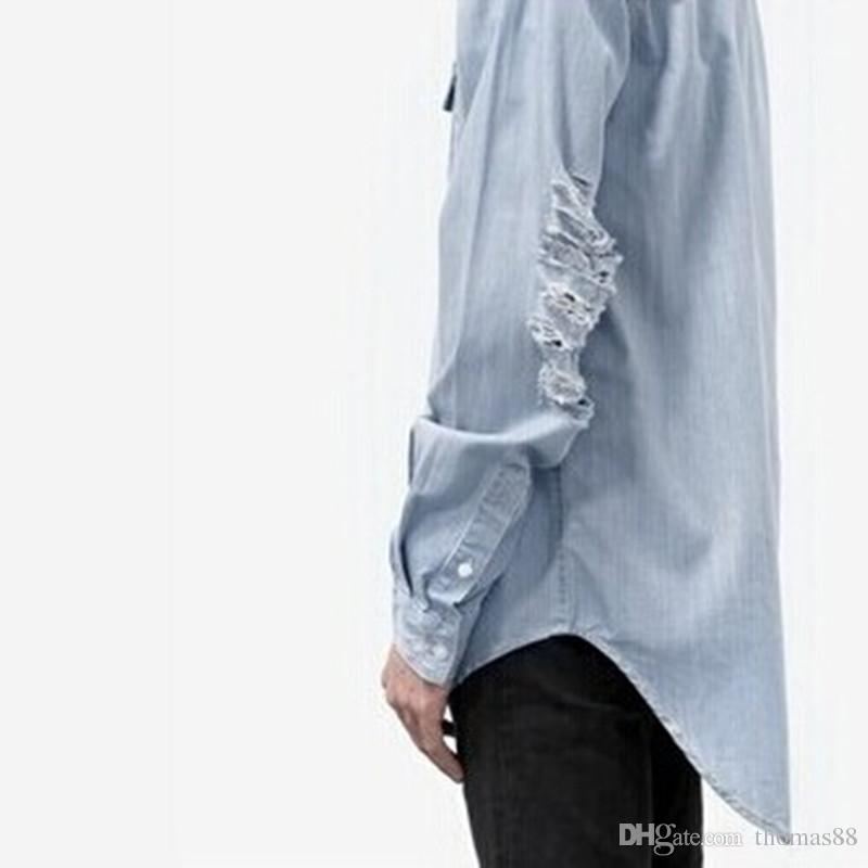 71314988207e5 Wholesale free shipping urban clothing distressed hole jean denim shirts  patchwork jacket Pyrex Euramerican Fashion street shirt
