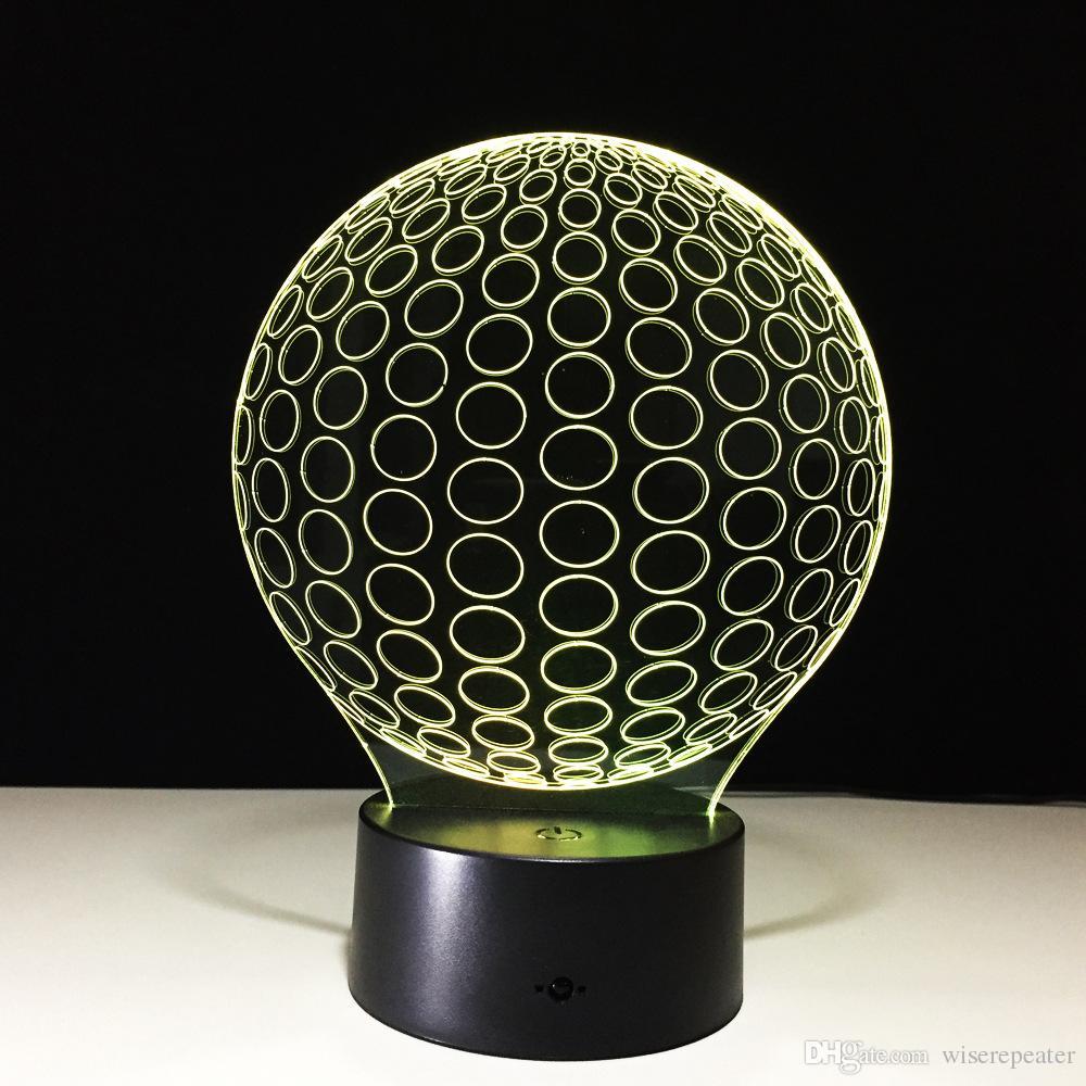 3D Golf Ball Optical Illusion Lamp Night Light DC 5V USB Charging AA Battery Wholesale Dropshipping Retail Box