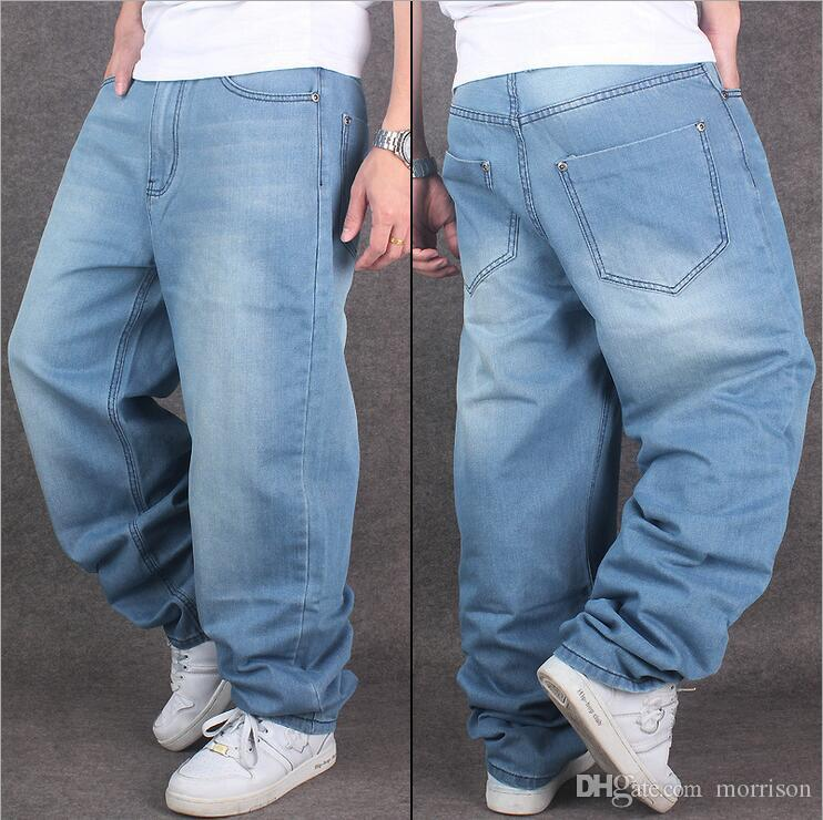 New Tide Man loose jeans hiphop skateboard jeans baggy pants denim pants hip hop men jeans plus size 30-46