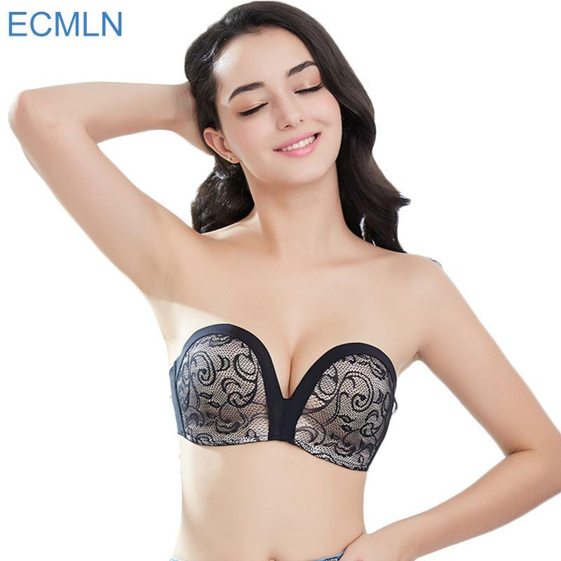 974bd799f 2019 Women S Slightly Lined Lift Great Support Lace Strapless Bra Women  Backless Push Up Plunge Intimates Underwear From Colin scot