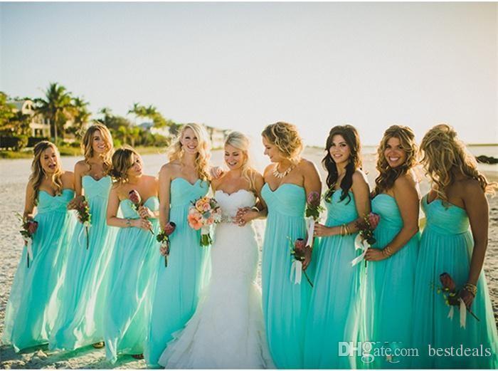2016 저렴한 청록색 흐름 시폰 비치 들러리 드레스 플러스 사이즈 긴 웨딩 게스트 파티 드레스 여름 정식 이브닝 드레스