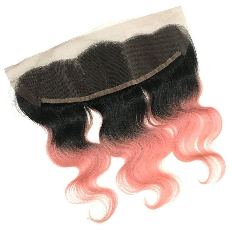 Mode 1B Rose Gold Ombre Hair Bundles Avec Dentelle Frontale Fermeture Rose Or Ombre Corps Vague Cheveux Tisse Avec Dentelle Frontale
