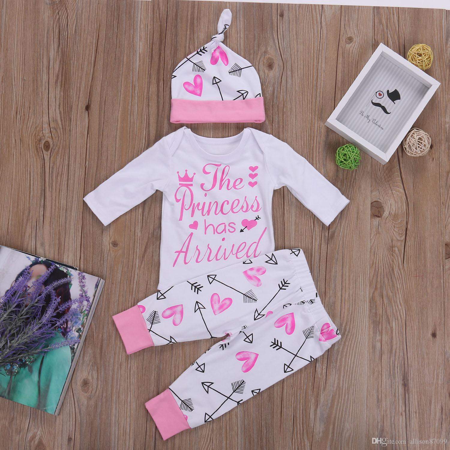 0183a9aea152 2019 Baby Girls Outfits Newborn Autumn Arrow Sweet Heart Letters The  Princess Has Arrived Romper + Pant With Hat 100%cotton 2017 New From  Allison87099