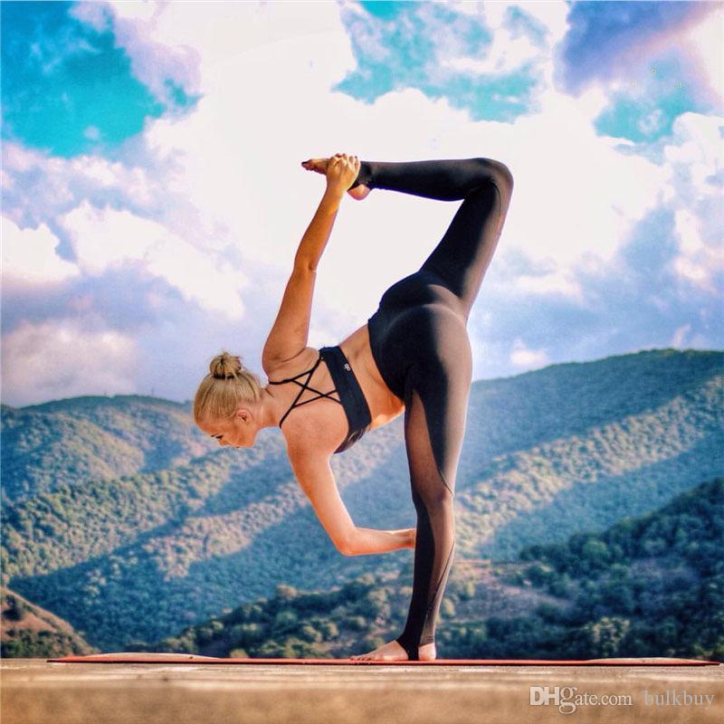 Sexy Malha Conjunta Calças de Yoga de Alta Elastic Stretch Oco Out Comprimento do Pé Correndo Meias Mulheres Patchwork Esporte Leggings dança Preto Cinza