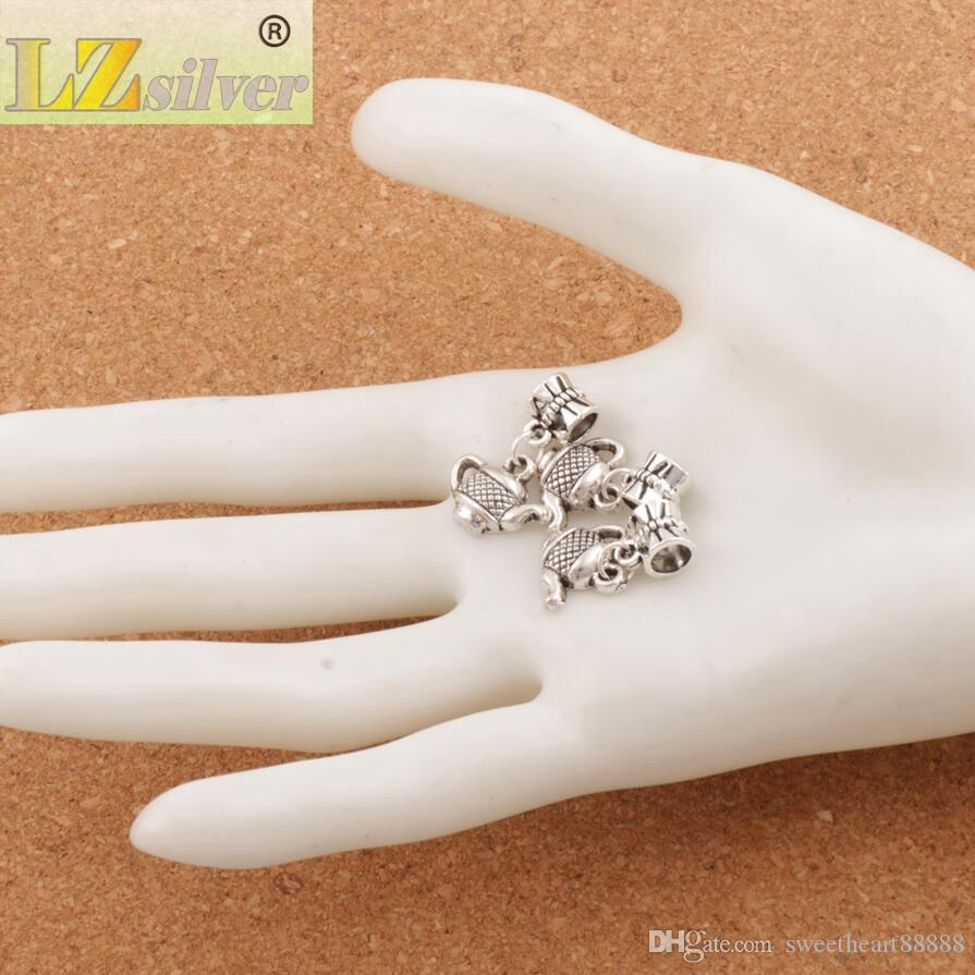Tea Pot Big Hole Pärlor 100st / 23.2X15.3mm Antik Silver Dangle Passform Europeiska Charm Armband Smycken DIY B405