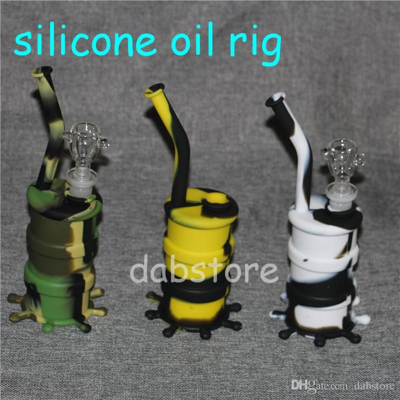 New Arrival Mini silicone dab rig Glow In Dark Silicone Water Pipe glass bongs glass water pipe silicone barrel rig