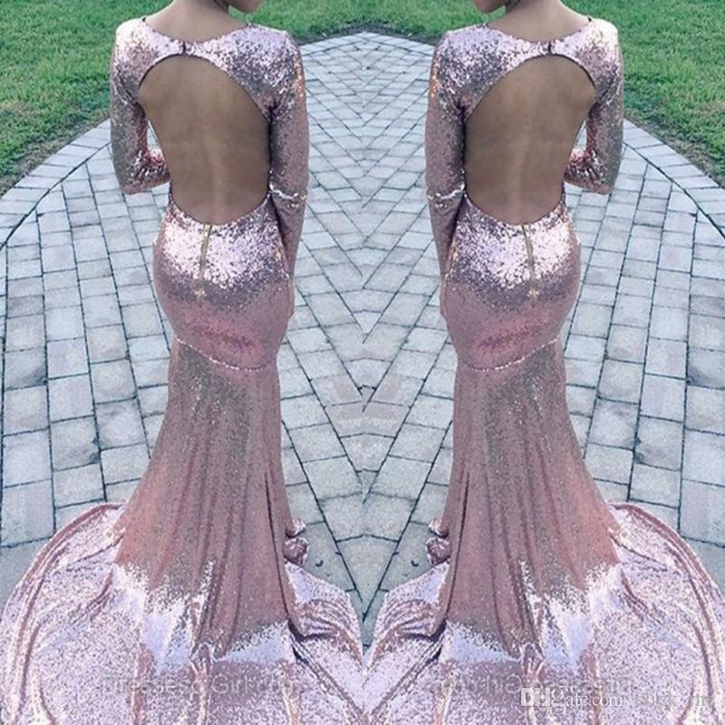 2fd5b95fe49b Rose Pink Sequined Prom Dresses Sexy Plunging Deep V Neck Long Sleeves  Mermaid Evening Gowns Shinning Open Back Formal Dresses Party Wear Boho Prom  Dresses ...