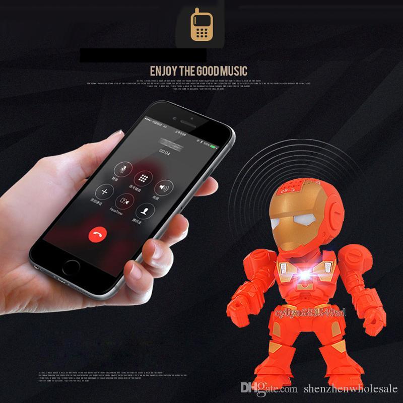 C-89 Iron Man bluetooth speaker with LED Flash light Iron Man figure Robot portable Mini wireless subwoofers bluetooth support TF FM USB
