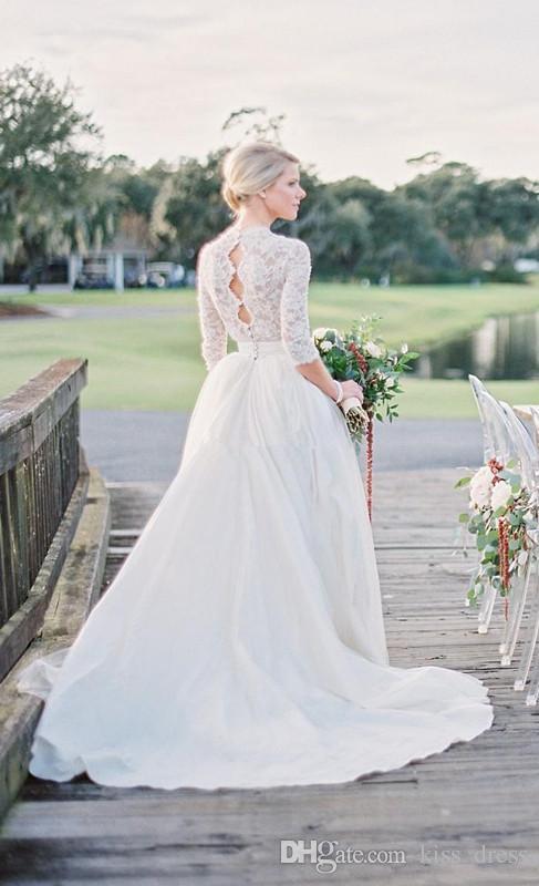 Ilusión Encaje Vestidos de novia modestos Barrido de tren Cuello en V profundo Una línea 3/4 Vestidos de novia bohemios de manga larga Vestido De Noiva por encargo W1022