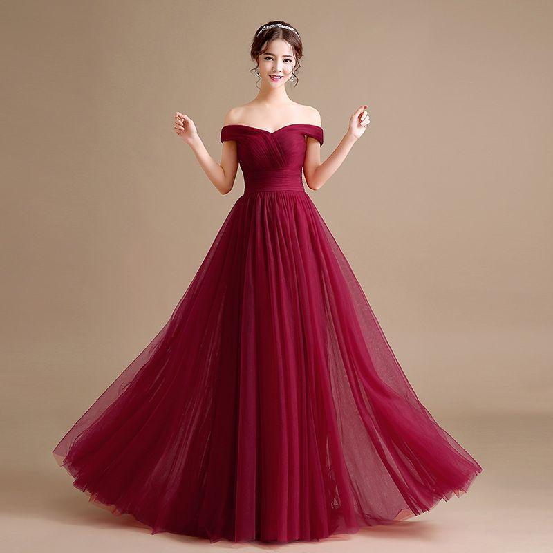 Compre Vestido De Noche De Tul Fuera De Línea Con Hombros Descubiertos Vestido De Fiesta Largo De 2018 Nuevos Vestidos De Noche Vestido De Fiesta
