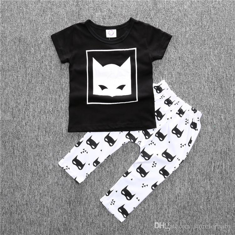 new cute animal cartoon clothing sets t-shirts+pants high quality cotton baby boy clothes short sleeve batman infant clothing sets kids sets
