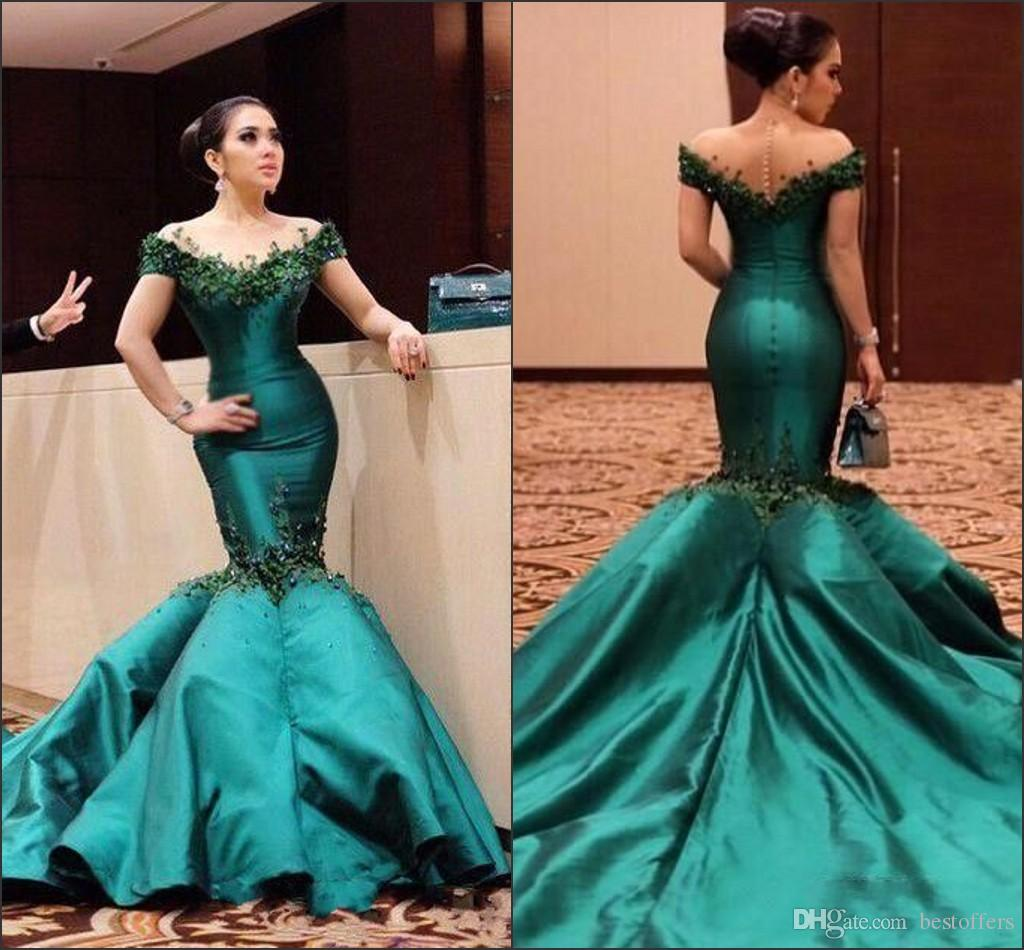 2782b948122 Emerald Green Off The Shoulder Mermaid Prom Gowns 2018 New Satin Formal  Long Evening Dresses With Beads Court Train Pageant Wear BA6516 Dave And  Johnny Prom ...