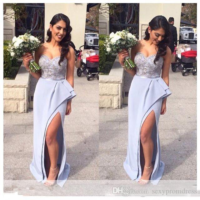 LIGHT LILAC Sirena Vestidos de dama de honor 2017 Sweetheart Frente Frente Split Ruffles Tren Formal Wedding Guest Party Vestidos de noche a medida baratos