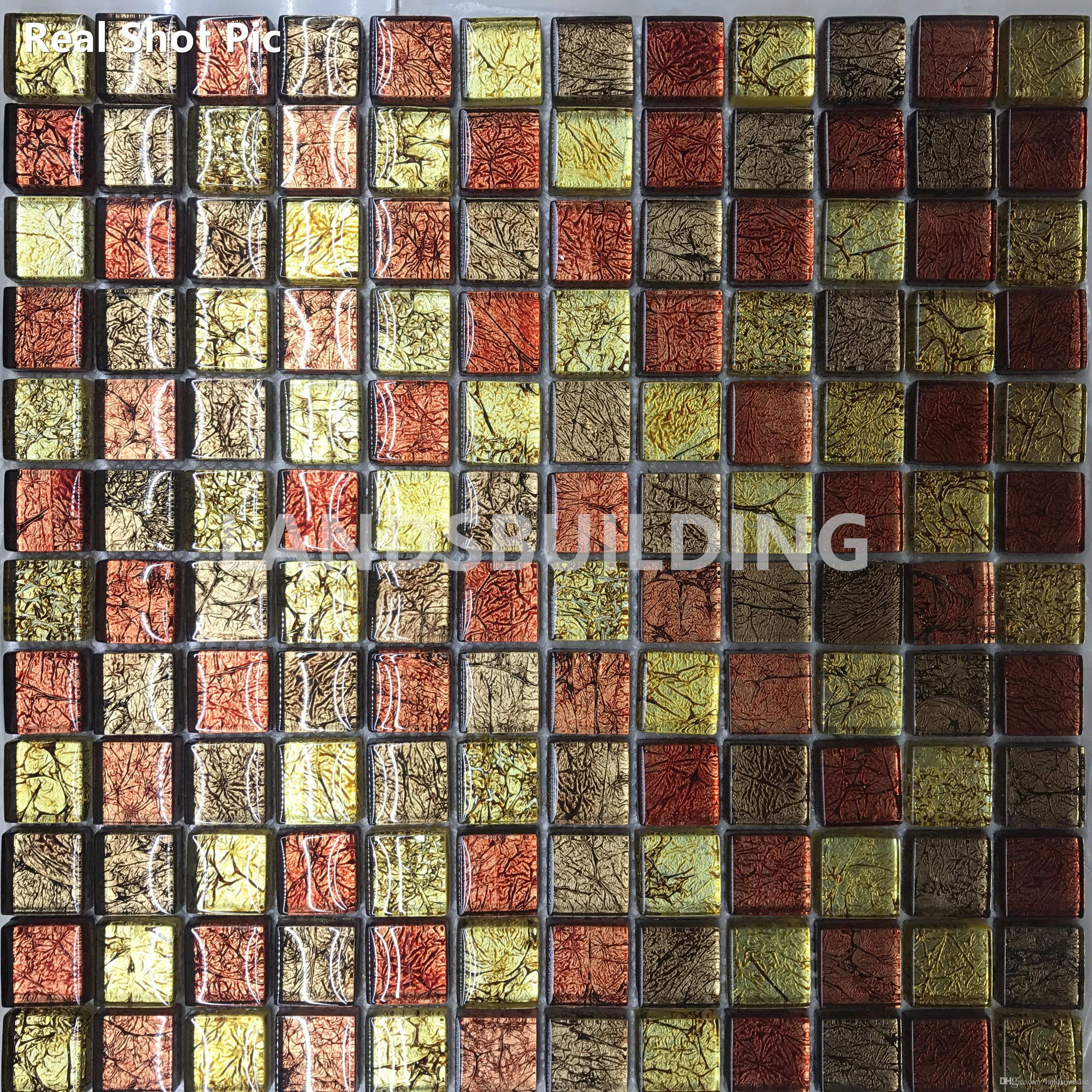 2017 gold foil glass mosaic tiles,resplendent home decor tiles