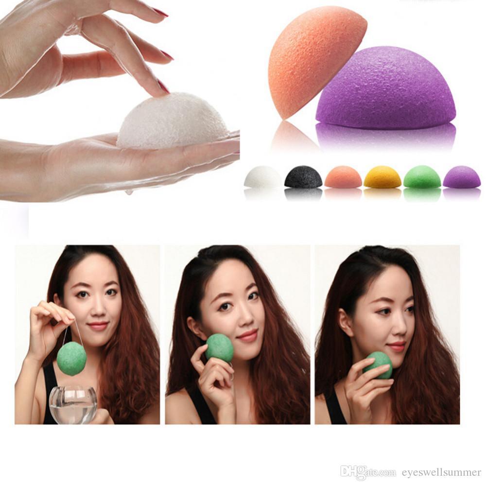 Venta caliente Natural Konjac Konnyaku Facial Puff Lavado de Cara Esponja de Limpieza Verde Maquillaje Herramientas de Belleza