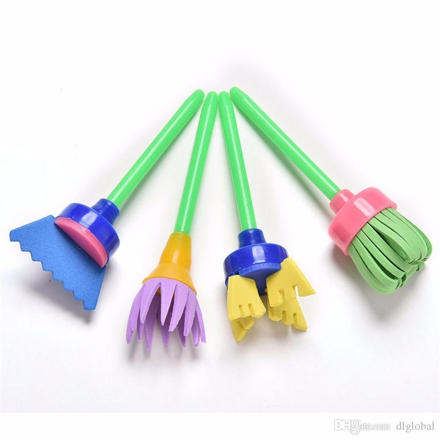 / set strumenti di pittura fai da te giocattoli drawa flower timbro spugna brush set rifornimenti di arte i bambini