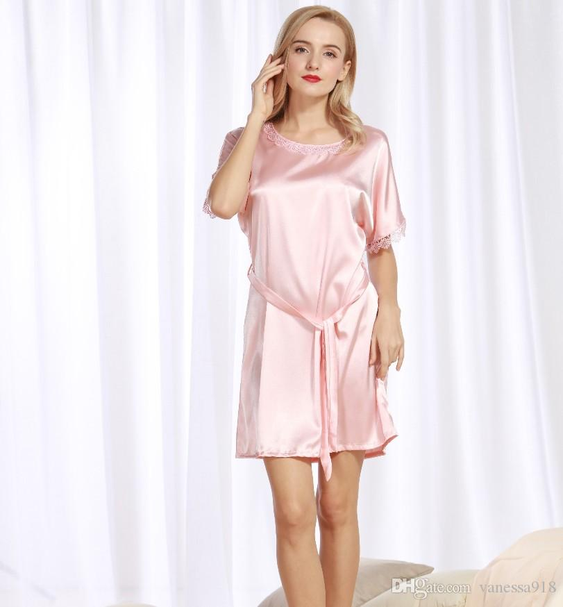 Nightdress Satin Sleepwear Silk Girls Nightgowns Sleepshirts Sexy Lingerie Short  Sleeve Satin Nightgown Sexy Round Neck SJYT113 Satin Nightgowns Sleepwear  ... c3667b650