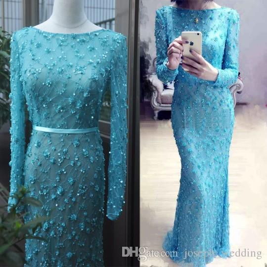 Abiti da sera eleganti di Vimans maniche lunghe 2017 Abiti da donna formale in pizzo blu turchese Abiti da cerimonia