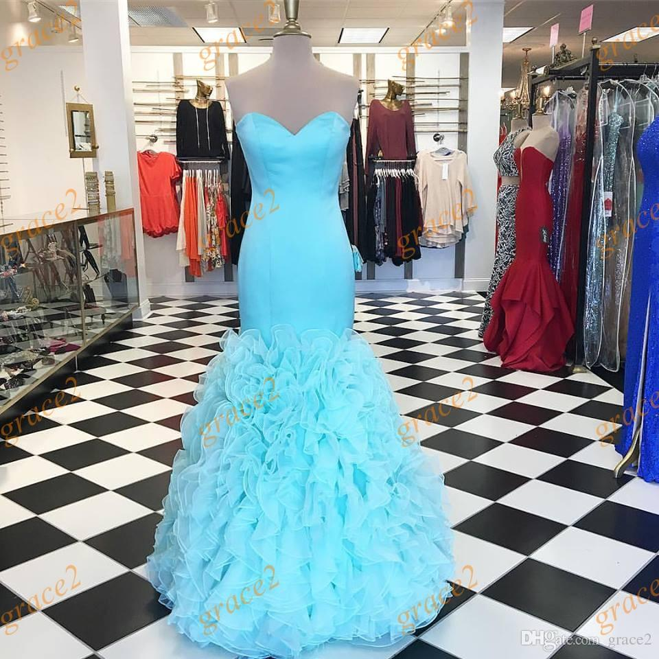 Light Aqua Prom Dresses 2k17 With Tiered Skirts And Lace Up Back ...