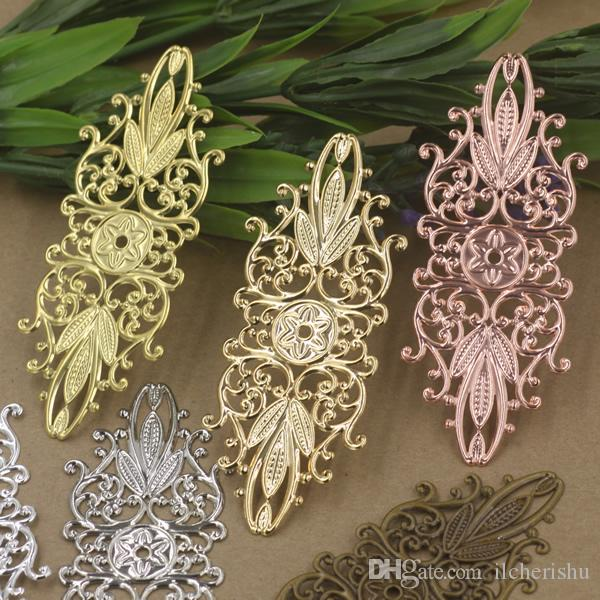 07513 35*87mm antique bronze silver rose gold gun black filigree flower charms for jewelry making, vintage necklace pendants for bracelet