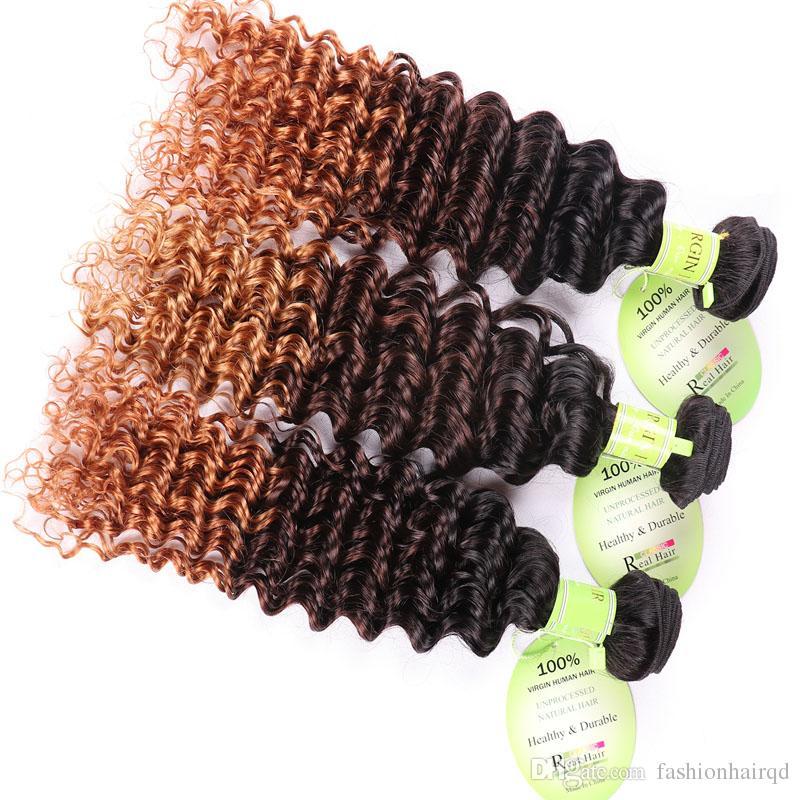 Ombre Brazilian Human Hair Bundles Deep Wave Hair Weaves T1b/4/27 Dark Root 3 Tone Virgin Remy Human Hair Weft Extensions 12-26inch