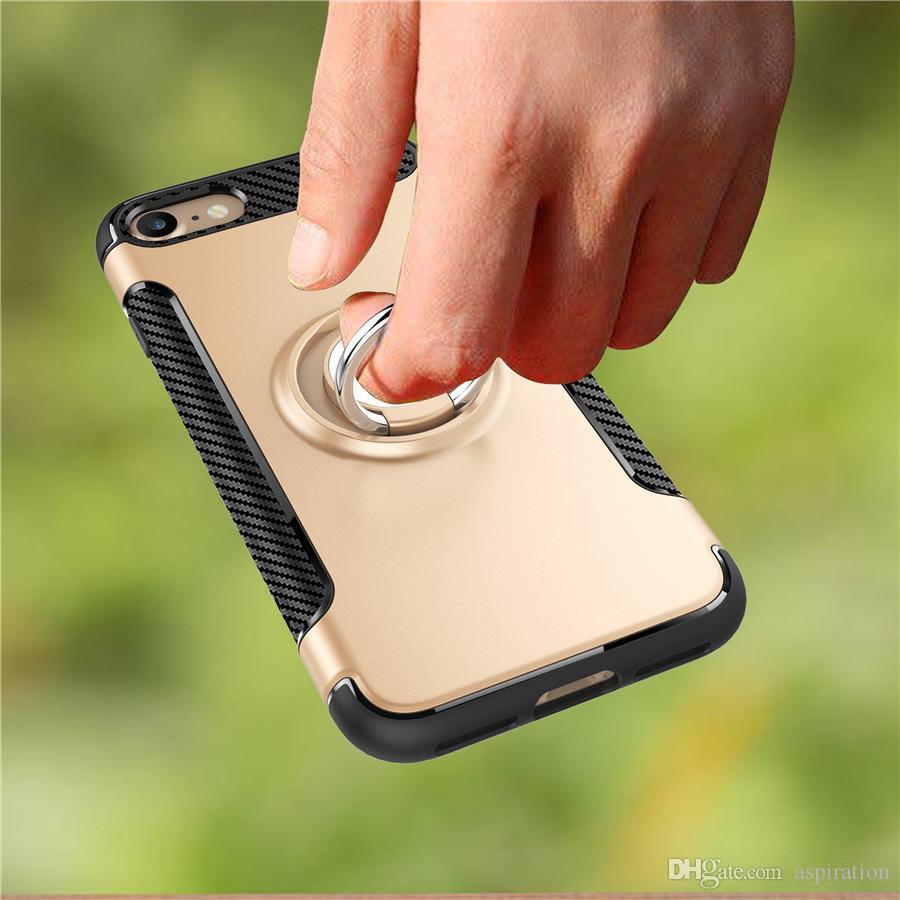 Custodia Hybrid Armor Apple iphone 6 6S 7 Plus / Samsung S8 Plus 2 in 1 TPU Custodia cellulare 360 gradi Grip rotante