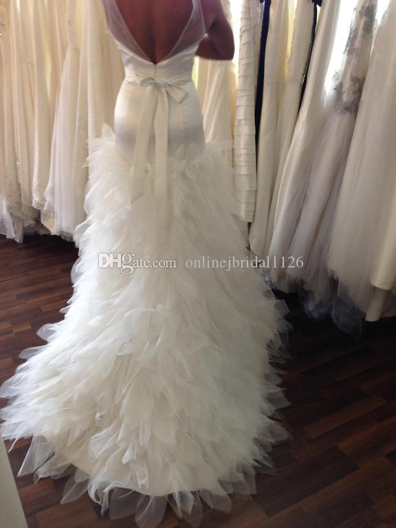 Real Brides Wedding Show V Neck Low Back Tulle Beaded Ribbon Sash Ruffles Skirt Mermaid COR-116 Vestido De Noiva Bridal Gown Dress