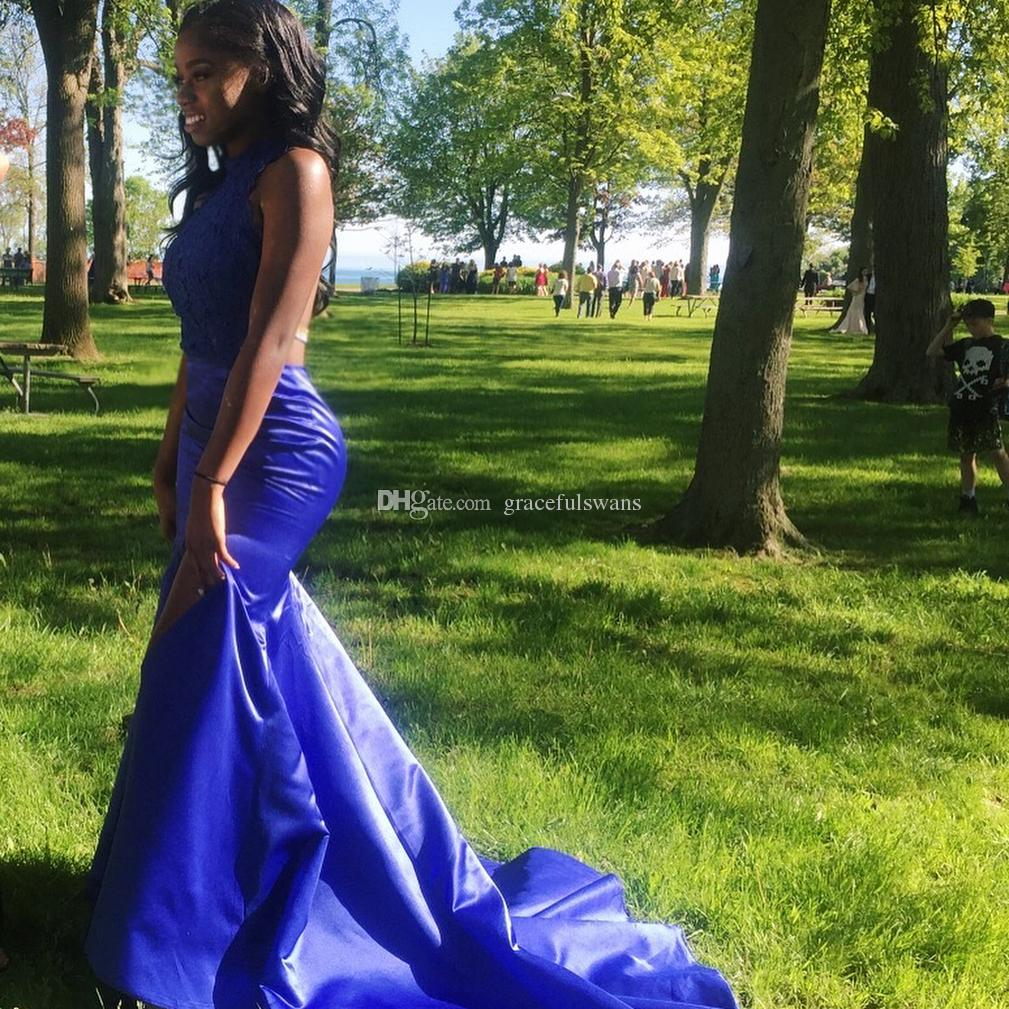 Halter Royal Blue Lace Prom Dresses Mermaid Stain Skirt High Leg Slit Party Dresses Backless Formal Dresses vestido de formatura