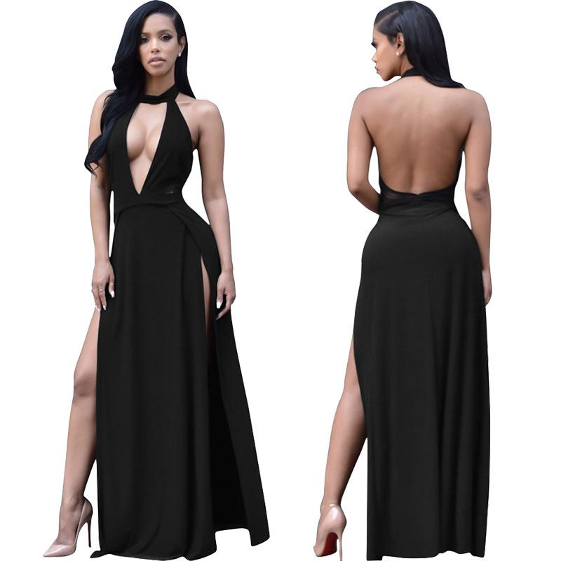 0c5016c7ac0 2019 Aged Draped Back Slit Dress Sexy Long Dresses Summer Ladies Sleeveless  V Neck Backless Cut Out Split Shift Maxi Dress Discount Store From  Fly061225