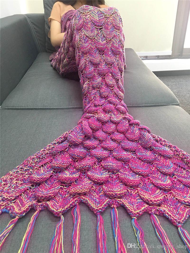 2017 Yarn Knitted Mermaid Tail Blanket Handmade Crochet Mermaid Blanket Kids Adult Throw Bed Wrap Super Soft Sleeping Bed